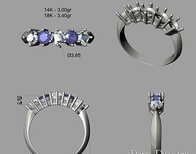 5 Stones Ring 3D print model