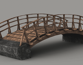 realtime Wooden Bridge Low-poly Game-ready 3D model