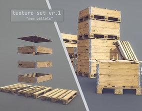 3D model Cargo Wood Pallets Collars Cover EUR EPAL vr-1