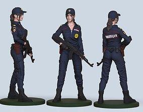 uniform 3D printable model hot cop girl
