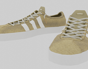 3D asset Snickers Adidas Leather Low Poly - VR