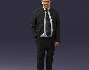 Man in suit with dark tie 0391 3D Print Ready
