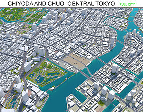 3D model Chiyoda and Chuo Central Tokyo 10km