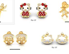 5 Women Special earrings 3dm render detail long