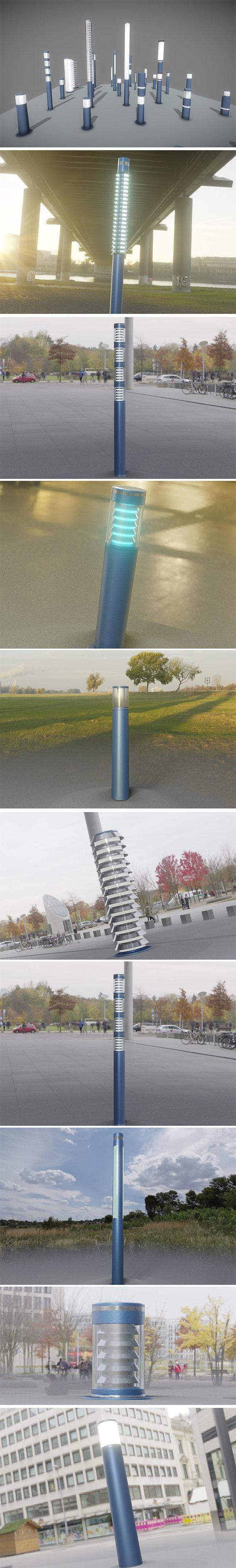 Light Columns Blue Version Package 3D Model Collection