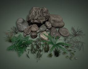 3D model Lowpoly PBR Rocks And Foliage