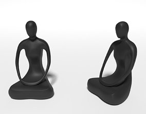 Abstract Meditation Woman Figurine 3D model