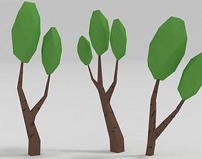 3D model low-poly Birch Tree