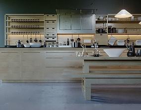 3D asset Wooden modern kitchen