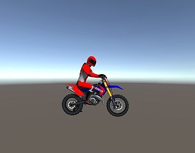 Low Poly Dirt Bike With Rider-2 3D asset animated