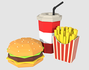 VR / AR ready Low-Poly Burger combo food potatoes and soda