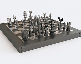 Chess of bolts and nuts 3D model