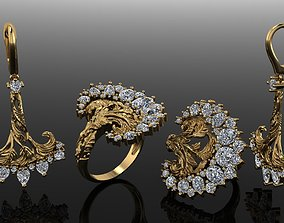 3D print model ring and earings magerit style 1907