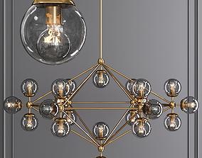 3D model Modo 6 Sided Chandelier 21 Globes Brushed Brass 3