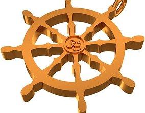 3D printable model Dharmachakra Pendant