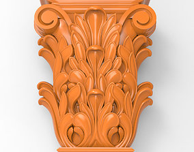 Carved CNC 3D print model capitel details