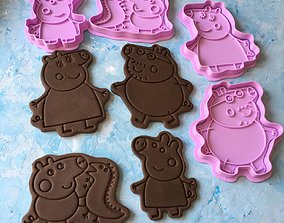 Peppa Pig and her family Cookie Cutter 3D print model
