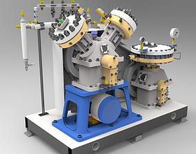 3D model Large ship diaphragm compressor