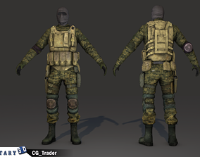 lowpoly soldier character costume 3d realtime