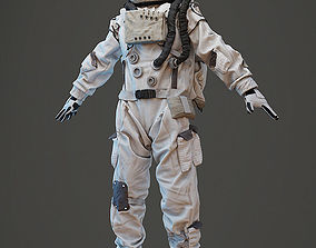 Spacesuit astronaut character with head and hair model 3D