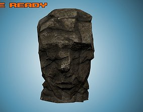 3D asset Game Ready Rock Formation - Ancient Stone Head