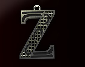 Alphabet Pendant 3D print model typography alphabet