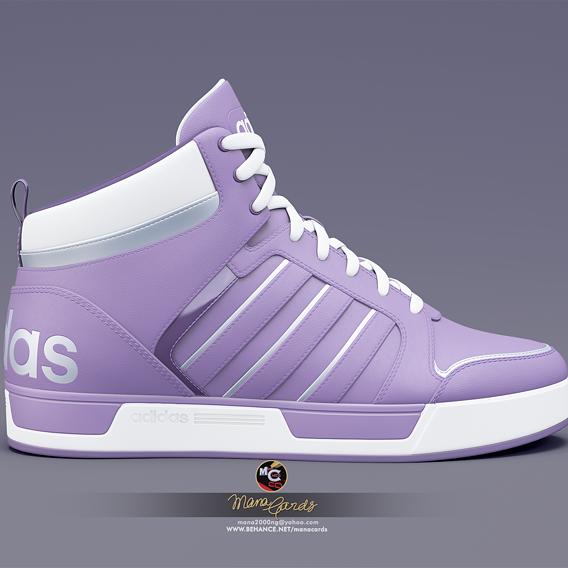3d viz of adidas Neo Raleigh 9TIS-highTop sneakers.