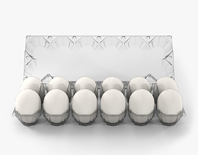 3D model Clear Plastic Dozen Egg Packaging