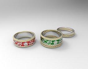 3D printable model Set of few ornamented eternity wedding