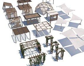 pergola shade sails 3D asset