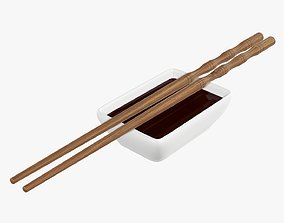 Soy sauce in a bowl and chopsticks 3D