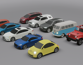 game-ready collection of 10 low poly cars 3D