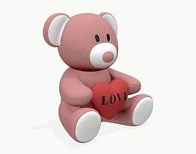 3D PBR bear teddy plush toy with heart