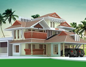 kerala traditional house full 3d views exterior and