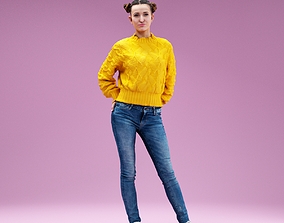 3D asset Relaxed Girl In Yellow Pull Jeans and White