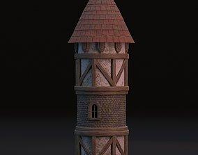 Medieval tower 3D model beam
