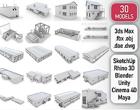 3D asset Industrial Buildings Collection