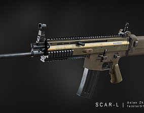 low-poly MK 16 SCAR-L Gameready Lowpoly Asset