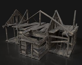3D model TOP-DOWN AAA BURNED RUINED OLD MEDIEVAL WOODEN 1