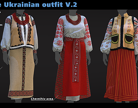 3D model Female Ukrainian outfit V2 3 different outfits