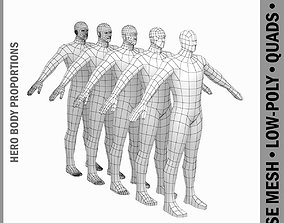 Male Hero Base Mesh in A-Pose 3D model realtime