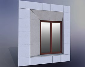 Sample facade with Internorm window and natural stone 3D
