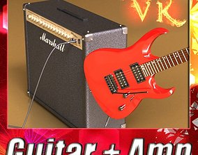 3D Electric Guitar with Amplifier