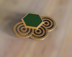3D printable model Brooch sexangel gem and