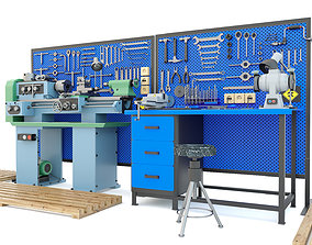 Industrial workbench garage tools and turning 3D model