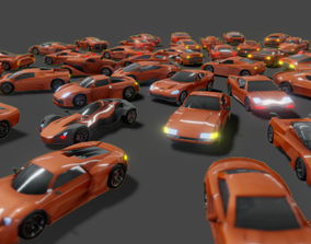 3D asset game-ready Lowpoly Super Car Mega Pack