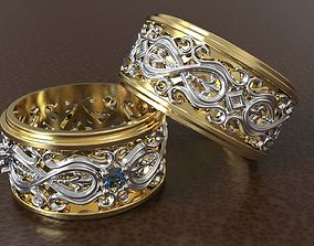WEDDING RINGS WITH ORNAMENTS 3D print model