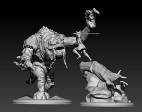 3D print model Ahsoka and the Rancor