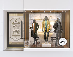 3D model Shop front with male mannequin