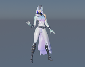 3D asset Cute Sexy GLOW Fortnite Outfit rigged Animated